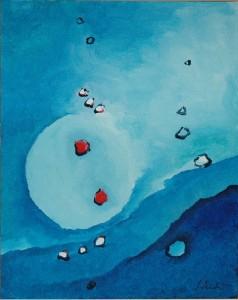Zwei rote Punkte in blauem Meer